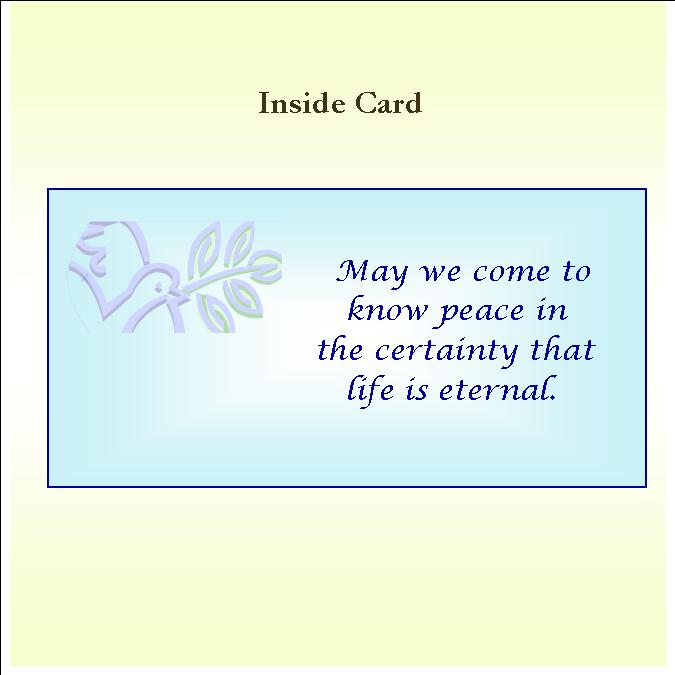 Dove of Peace Inside Card